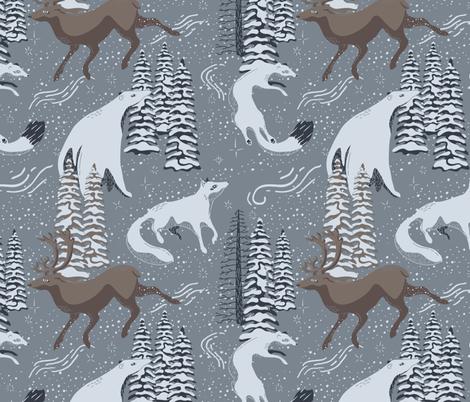 Arctic Winter Wanderers fabric by harrietharkerdesign on Spoonflower - custom fabric