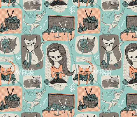Cats & Wool 12x12 Inch Repeat fabric by melarmstrongdesign on Spoonflower - custom fabric