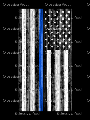 2 yard minky panel - Thin Blue Line