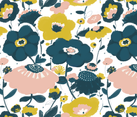 Harlow's  garden fabric by fable_design on Spoonflower - custom fabric