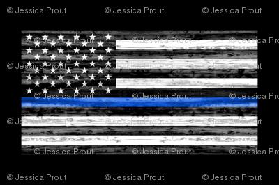 "54"" minky yard panel - thin blue line"