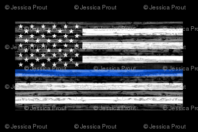 Minky Fat Quarter panel - thin blue line