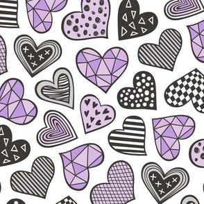 Geometric Patterned Hearts Valentines day Doodle  Purple Violet