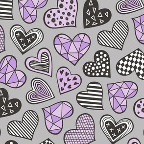 Geometric Patterned Hearts Valentines day Doodle  Purple Violet on Grey