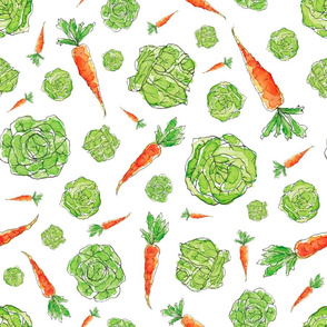 Cabbages n Carrots in White