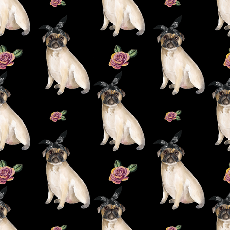"4"" Pug Life - Black fabric by rebelmod on Spoonflower - custom fabric"