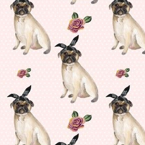 "4"" Pug Life - Pink with Polka Dots"