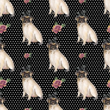 "4"" Pug Life - White Polka Dots fabric by rebelmod on Spoonflower - custom fabric"