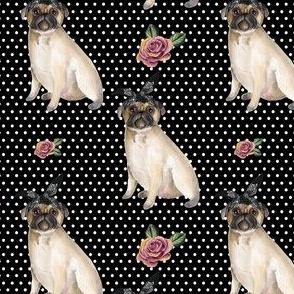 """4"""" Pug Life - White Polka Dots"""