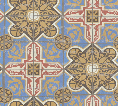 17-05L Textured Damask Brown Blue Red Cream Gold Tile || Sand Blasted Home decor large scale
