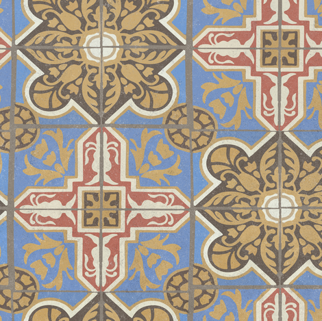 17-05L Textured Damask Brown Blue Red Cream Gold Tile || Sand Blasted Home decor large scale fabric by misschiffdesigns on Spoonflower - custom fabric