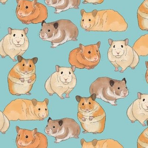 Hamsters on Light Blue