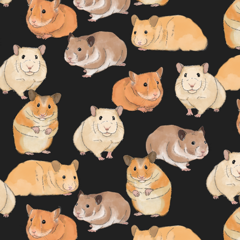Hamsters in Color on Slate fabric by landpenguin on Spoonflower - custom fabric