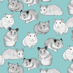 Hamsters in Black and White on Light Blue