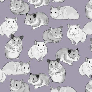 Hamsters in Black and White on Purple
