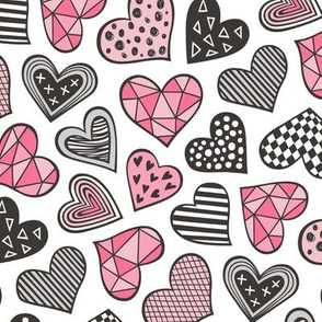 Geometric Patterned Hearts Valentines day Doodle