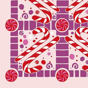 Candy canes dreams// candy giftwrap xmas holiday christmas fabric