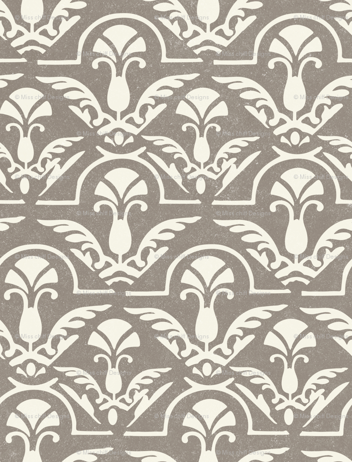 17-05K Texture Fall Damask Abstract Feather    Neutral Cream on Gray