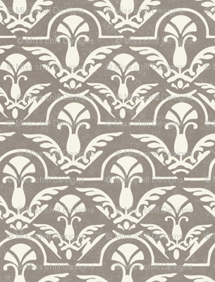 Texture Fall Damask Abstract Feather || Neutral Cream on Gray  Taupe with Heavy texture || Home decor wallpaper _ Miss Chiff Designs