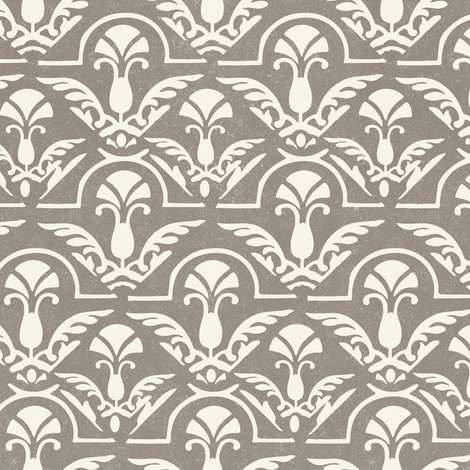 Texture Fall Damask Abstract Feather || Neutral Cream on Gray  Taupe with Heavy texture || Home decor wallpaper _ Miss Chiff Designs fabric by misschiffdesigns on Spoonflower - custom fabric