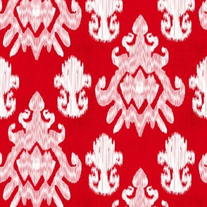 17-11H Large Scale Red White Ikat Distressed _ Miss Chiff Designs