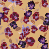 purple and red pansies on goldenrod