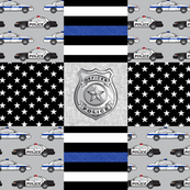 to serve and protect - police patchwork fabric - thin blue line