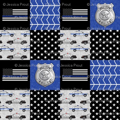 police patchwork fabric - thin blue line - blue chevron