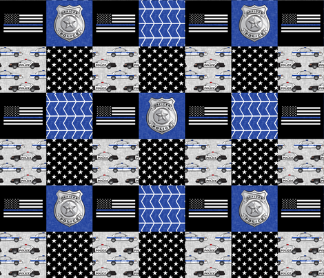 police patchwork fabric - thin blue line - blue chevron fabric by littlearrowdesign on Spoonflower - custom fabric