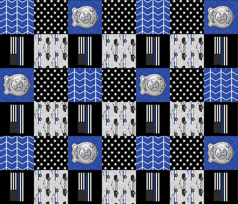 police patchwork fabric - thin blue line - blue chevron (90) fabric by littlearrowdesign on Spoonflower - custom fabric