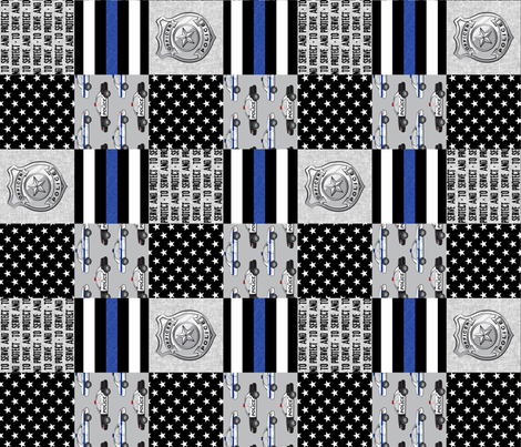 to serve and protect - police patchwork fabric - thin blue line (90) fabric by littlearrowdesign on Spoonflower - custom fabric