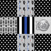 to serve and protect - police patchwork fabric - thin blue line (90)