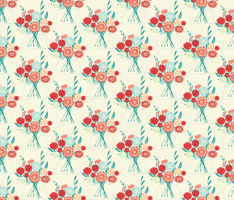 Cheery Bouquet - Cream fabric by scarlette_soleil on Spoonflower - custom fabric