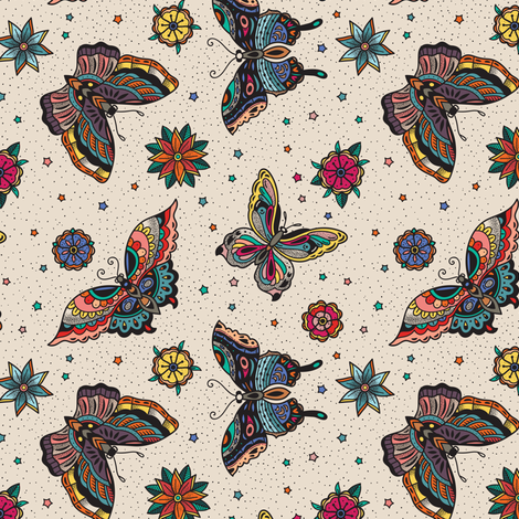 Oldschool butterfly tattoo fabric by penguinhouse on Spoonflower - custom fabric