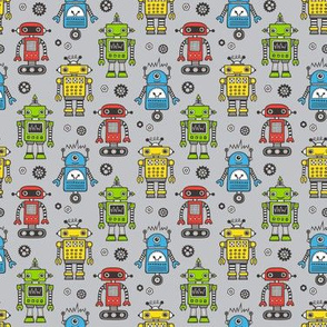 Cute Robots on Gray Smaller 1,5 inch