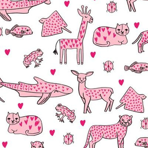 valentines animals // shark deer cat giraffe nursery love hearts fabric white red