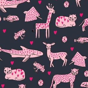 valentines animals // shark deer cat giraffe nursery love hearts fabric navy