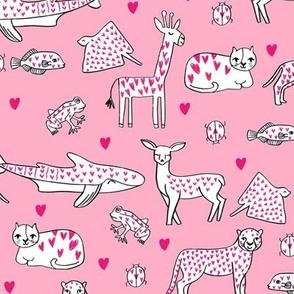 valentines animals // shark deer cat giraffe nursery love hearts fabric pinks
