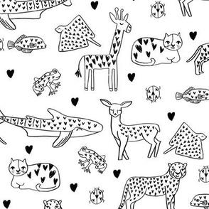 valentines animals // shark deer cat giraffe nursery love hearts fabric black and white