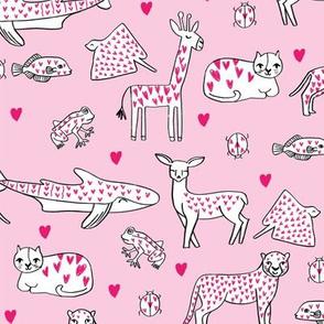 valentines animals // shark deer cat giraffe nursery love hearts fabric pink