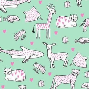 valentines animals // shark deer cat giraffe nursery love hearts fabric mint