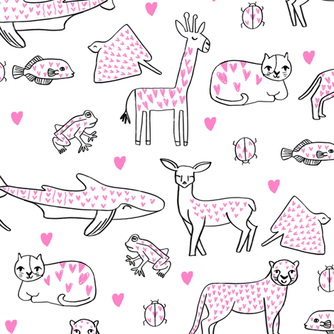 valentines animals // shark deer cat giraffe nursery love hearts fabric white pink fabric by andrea_lauren on Spoonflower - custom fabric