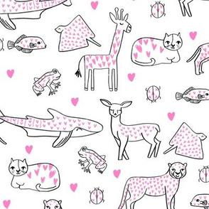 valentines animals // shark deer cat giraffe nursery love hearts fabric white pink