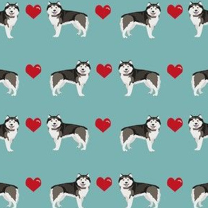 alaskan malamute hearts love dog breed pet fabric turquoise