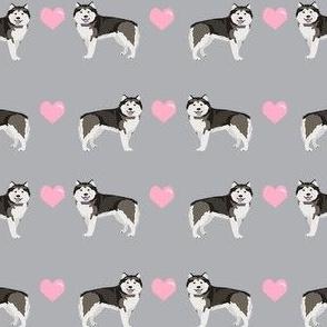 alaskan malamute hearts love dog breed pet fabric grey
