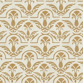 Textured Yellow Gold Damask Tile on Cream || Home Decor  Grunge _ Miss Chiff Designs