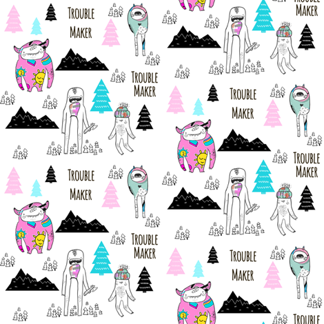 """4"""" Troublemaker - Colorful fabric by rebelmod on Spoonflower - custom fabric"""