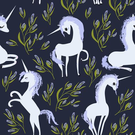 "8"" Unicorn Fields - Lavender Dark Purple fabric by rebelmod on Spoonflower - custom fabric"