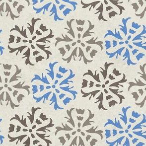 Textured Abstract Floral  || Tile Blue Gray brown on cream large scale home decor wall paper