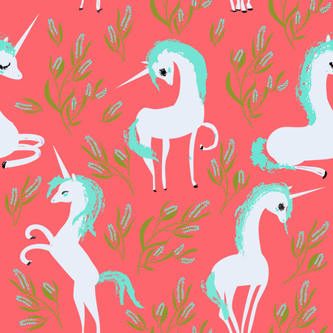 "8"" Unicorn Fields - Bright Peach fabric by rebelmod on Spoonflower - custom fabric"